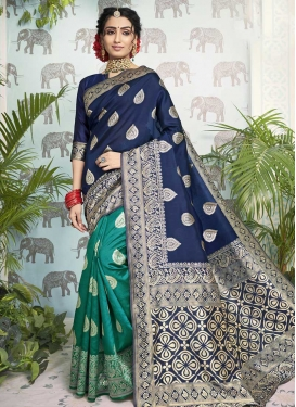 Navy Blue and Teal Traditional Designer Saree For Casual