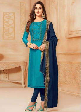 Navy Blue and Teal Trendy Churidar Salwar Suit For Casual