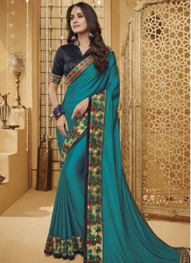 Navy Blue and Teal Trendy Classic Saree For Festival