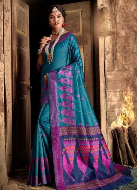 Navy Blue and Teal Woven Work Designer Contemporary Style Saree