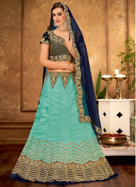 Navy Blue and Turquoise A - Line Lehenga