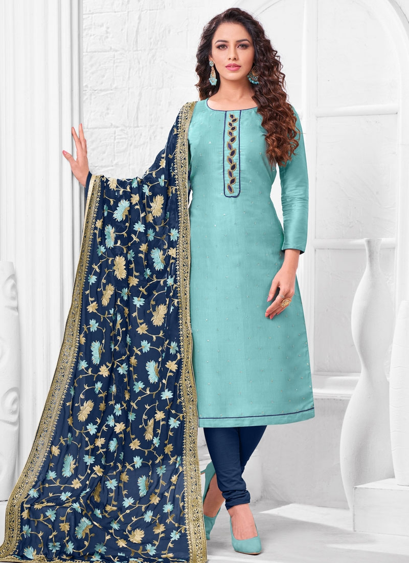 Navy Blue and Turquoise Beads Work Trendy Churidar Suit