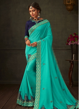 Navy Blue and Turquoise Designer Contemporary Saree
