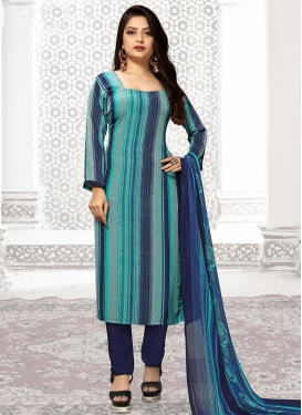 Navy Blue and Turquoise Pant Style Pakistani Salwar Suit