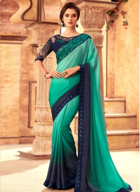 Navy Blue and Turquoise Satin Georgette Traditional Designer Saree