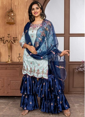Navy Blue and Turquoise Satin Sharara Salwar Suit