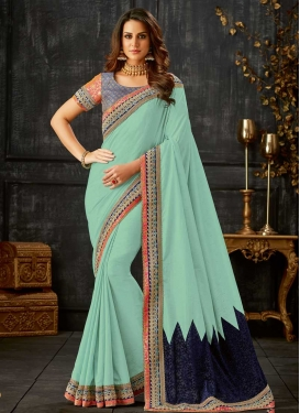 Navy Blue and Turquoise Silk Designer Traditional Saree