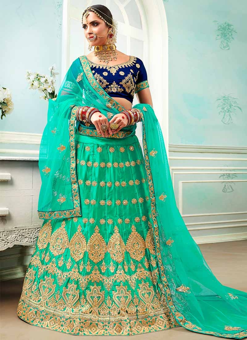 Navy Blue and Turquoise Trendy A Line Lehenga Choli