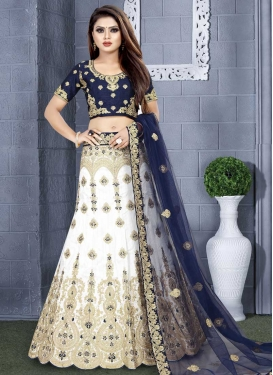 Navy Blue and White Booti Work A - Line Lehenga