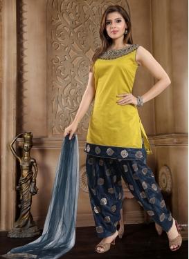 Navy Blue and Yellow Chanderi Silk Readymade Salwar Kameez