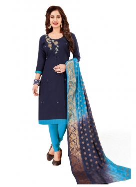 Navy Blue Cotton Embroidered Churidar Designer Suit