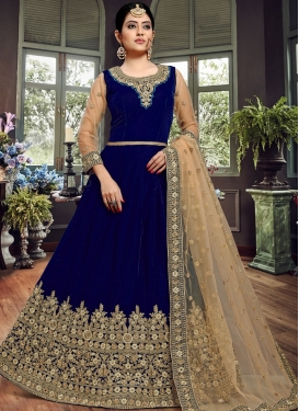 Navy Blue Embroidered Ceremonial Floor Length Anarkali Suit