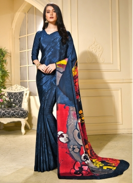 Navy Blue Faux Crepe Printed Trendy Saree