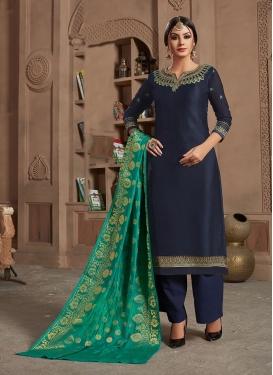 Navy Blue Festival Georgette Satin Designer Straight Salwar Suit