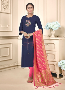 Navy Blue Festival Trendy Churidar Salwar Suit