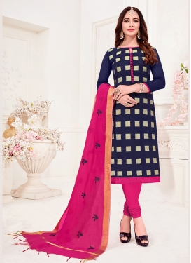 Navy Blue Jacquard Silk Casual Churidar Suit