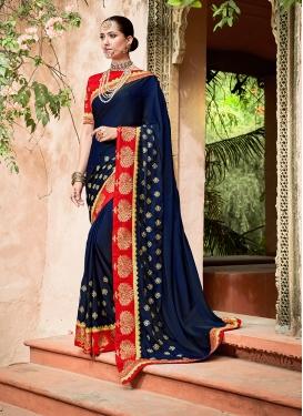 Navy Blue Patch Border Art Silk Designer Traditional Saree