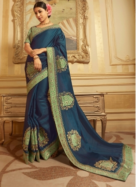 Navy Blue Patch Border Wedding Designer Traditional Saree