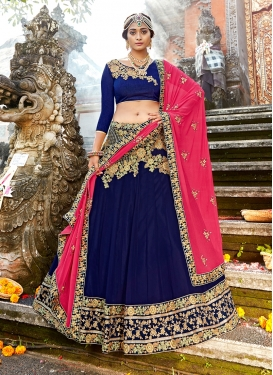 Navy Blue Wedding Art Silk Designer Lehenga Choli