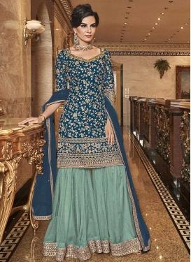 Net Aqua Blue and Teal Embroidered Work Sharara Salwar Kameez