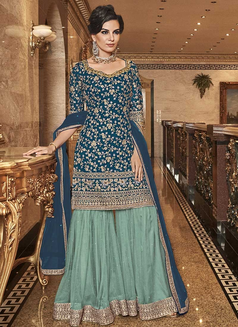 Net Aqua Blue and Teal Embroidered Work Sharara Salwar Kameez
