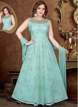 Net Beads Work Readymade Anarkali Salwar Suit