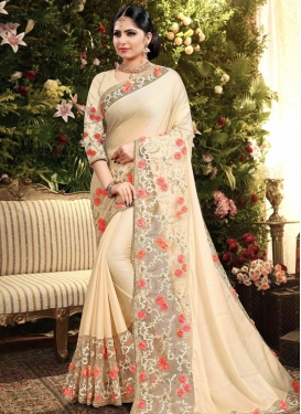 Net Beads Work Trendy Classic Saree