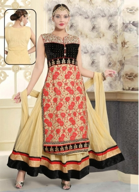 Net Black and Cream Readymade Classic Gown