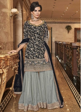 Net Black and Grey Sharara Salwar Kameez