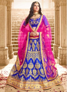 Net Blue and Rose Pink Booti Work A - Line Lehenga