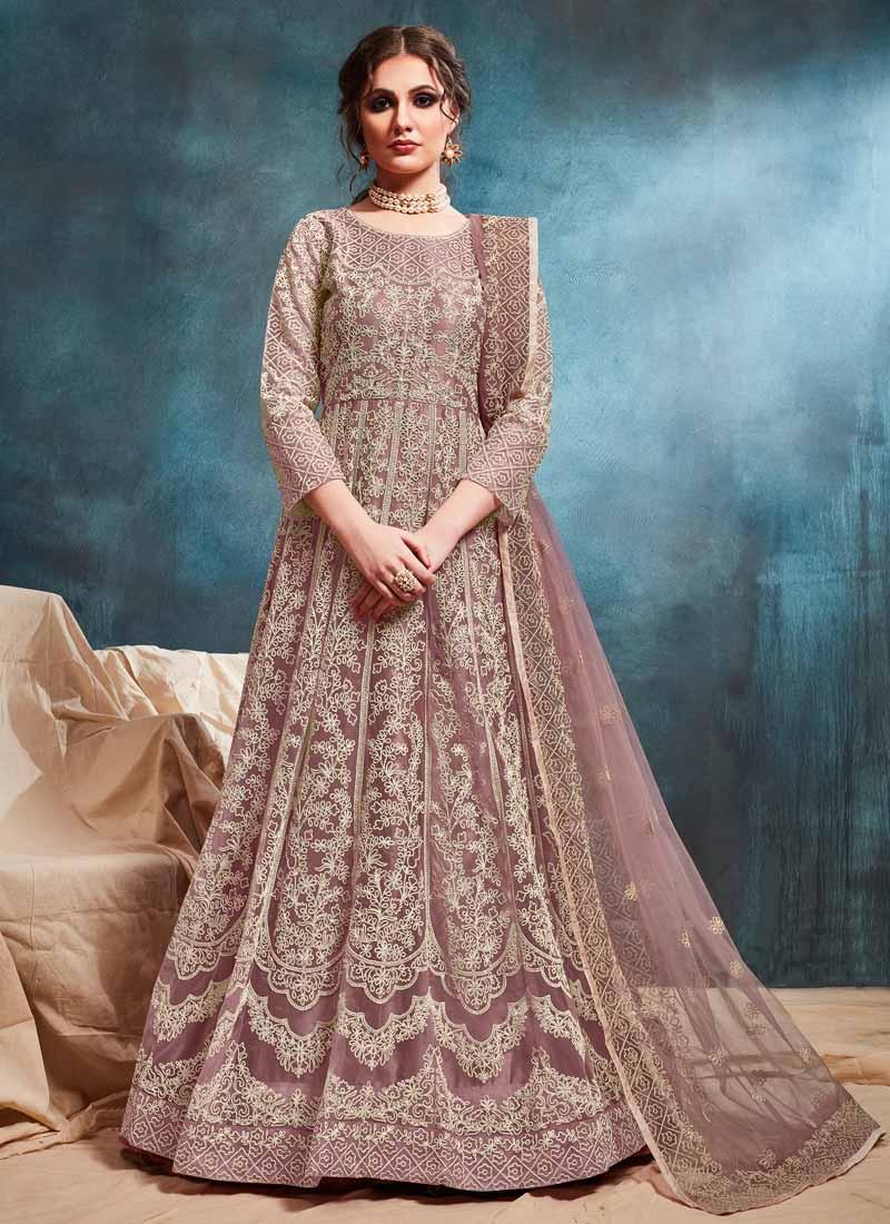 Net Chicken Work Long Length Anarkali Salwar Suit