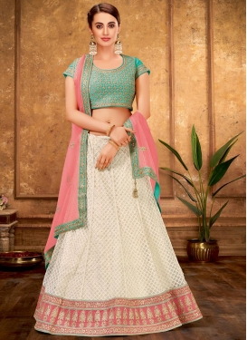 Net Cream and Turquoise A - Line Lehenga