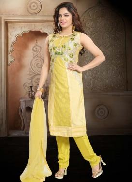 Net Cream and Yellow Readymade Churidar Suit