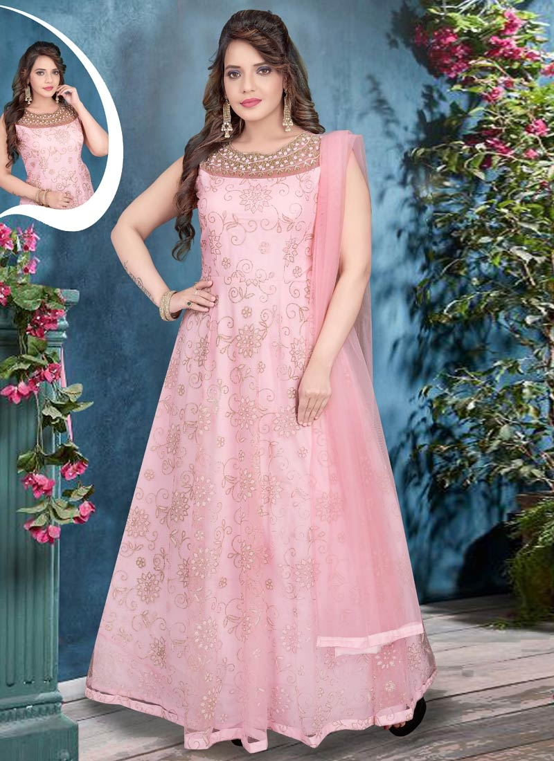 Net Cutdana Work Readymade Anarkali Suit