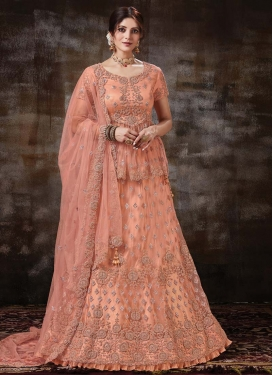 Net Designer Long Choli Lehenga For Bridal