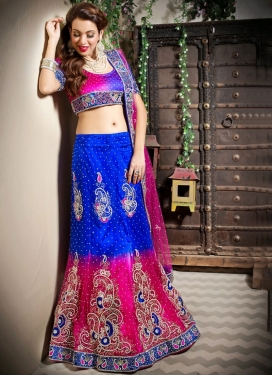 Net Embroidered Blue and Rose Pink Trendy Lehenga Choli