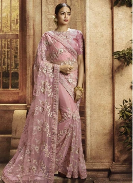 Net Embroidered Work Classic Saree
