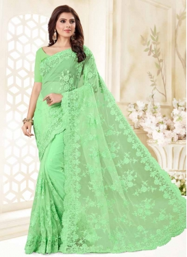 Net Embroidered Work Contemporary Saree