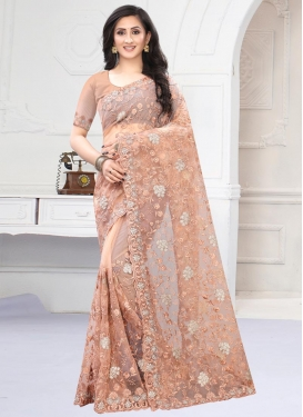 Net Embroidered Work Contemporary Style Saree