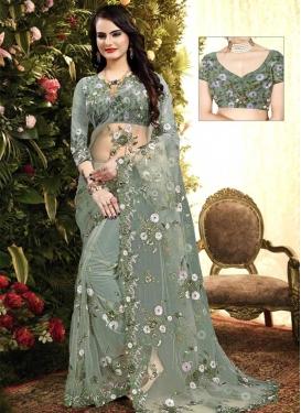 Net Embroidered Work Designer Contemporary Style Saree
