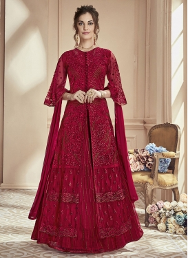 Net Embroidered Work Designer Kameez Style Lehenga Choli