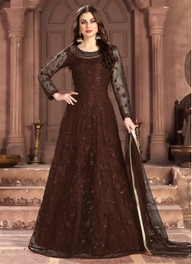 Net Embroidered Work Floor Length Anarkali Suit