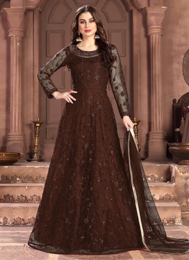 Net Embroidered Work Floor Length Anarkali Suit