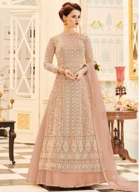 Net Embroidered Work Jacket Style Salwar Kameez