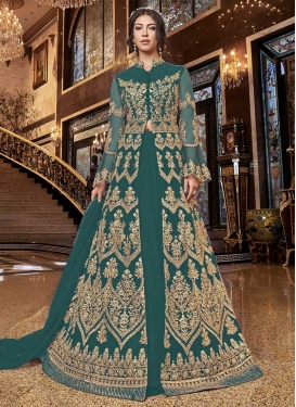 Net Embroidered Work Kameez Style Lehenga Choli