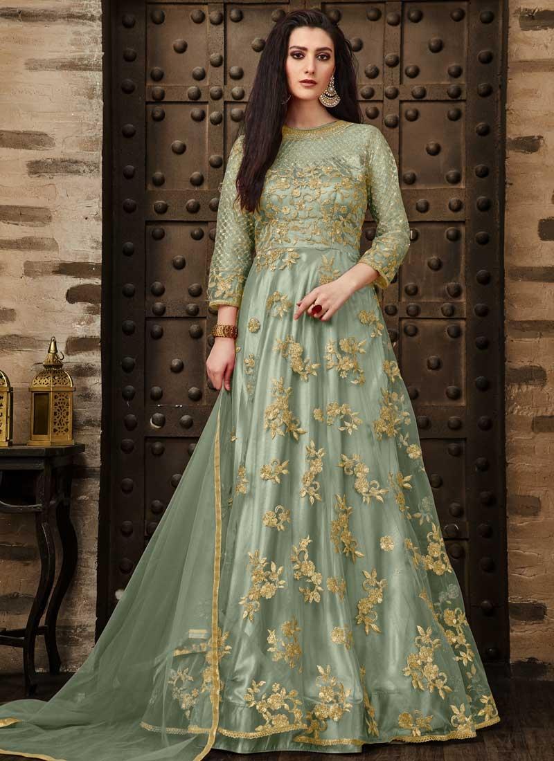 Net Embroidered Work Long Length Anarkali Salwar Suit