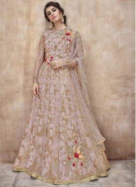 Net Embroidered Work Long Length Anarkali Suit