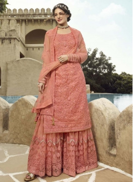 Net Embroidered Work Palazzo Straight Salwar Kameez
