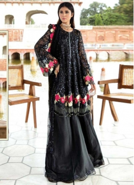 Net Embroidered Work Palazzo Style Pakistani Salwar Kameez