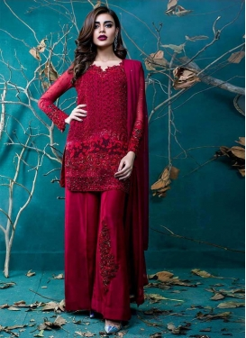 Net Embroidered Work Palazzo Style Pakistani Salwar Suit